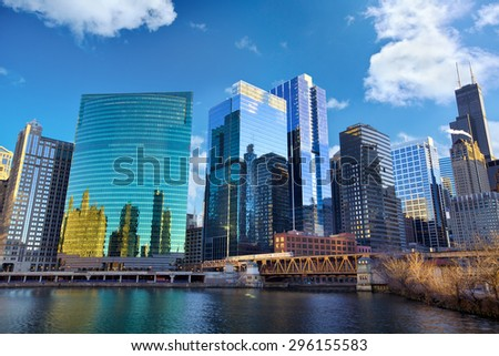 Chicago skyline and The Loop area, IL, United States - stock photo