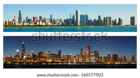 Chicago Skyline at Day and Night - stock photo
