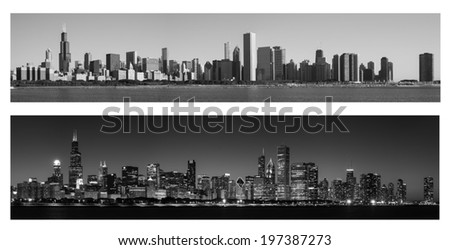 Chicago Skyline at Day and Night in monochrome - stock photo