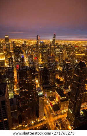 Chicago skyline at night, Illinois, US - stock photo