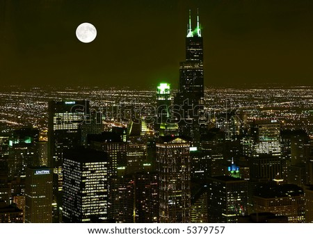 Chicago Skyline at night in United States - stock photo