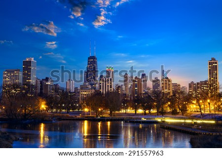 Chicago skyline at twilight, IL, United States - stock photo