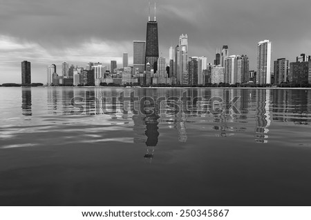 Chicago Skyline. Black and white image of Chicago, Illinois. - stock photo