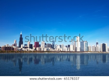 Chicago Skyline from Lake Michigan - stock photo