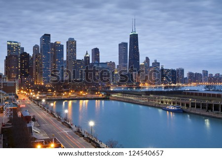 Chicago skyline. Image of Chicago downtown skyline at dusk. - stock photo