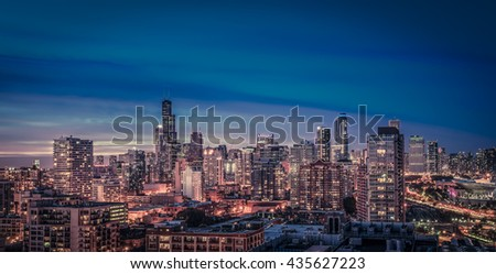 Chicago Skyline panorama at dusk, scenic sky - stock photo