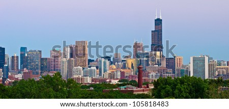 Chicago Skyline. Panoramic image  of Chicago downtown at sunset from high above. - stock photo