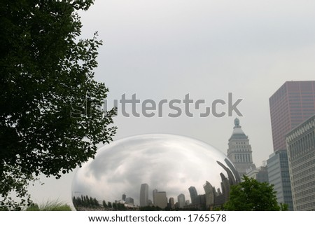 Chicago - Skyline Reflections - At the Millenium Park on a cloudy day - stock photo