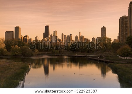 Chicago skyline seen from Lincoln Park. Taken with tobacco filter. Chicago, Illinois, USA.  - stock photo