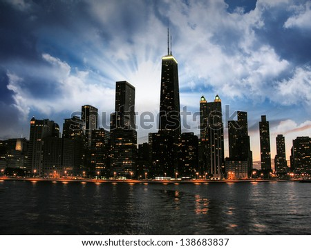 Chicago Skyline Silhouette at sunset. - stock photo