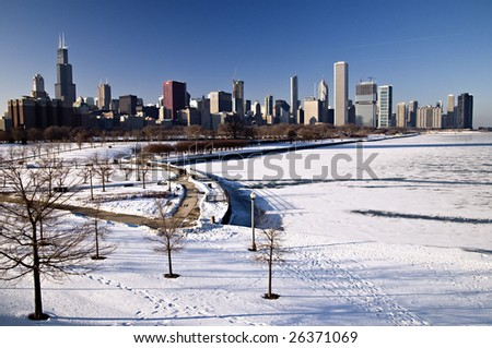chicago skyline view from the park - stock photo