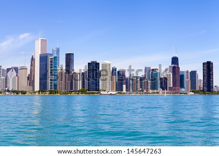 Chicago Skyline With Blue Clear Sky - stock photo