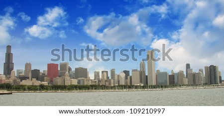 Chicago Skyline with Skyscrapers and Lake Michigan - View from Lakefront Trail - Illinois - USA - stock photo