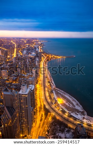 Chicago skyline with skyscrapers over the Lake Michigan at twilight. Chicago, Illinois, USA - stock photo