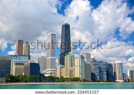 Chicago skyline with urban skyscrapers, IL, USA - stock photo