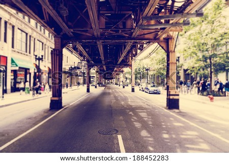 Chicago Street (Tilt Shift Effect) - stock photo