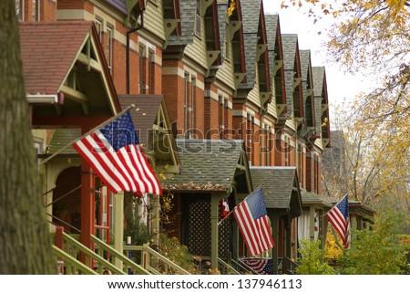 Chicago suburban neighborhood - stock photo