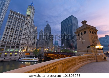 Chicago Sunrise. Image of the Chicago riverside downtown district during sunrise. - stock photo