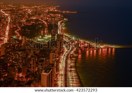 CHICAGO, UNITED STATES, OCTOBER 14, 2012 - panorama of the illuminated skyscrapers of Chicago night in the state Illinois skyline  - stock photo