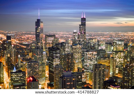 CHICAGO, UNITED STATES - OCTOBER 15, 2012 -  view of Chicago skyscrapers at night from John Hancock Center 100 floors and 344 meters high  located in the city of Chicago Illinois USA - stock photo