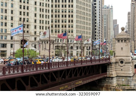 CHICAGO, USA - CIRCA MAY 2015: The famous Michigan Avenue in Chicago, Illinois, USA - stock photo