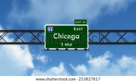 Chicago USA Interstate Highway Sign 3D Illustration - stock photo