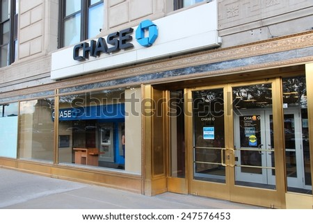 CHICAGO, USA - JUNE 27, 2013: Chase Bank in Chicago. JPMorgan Chase Bank is one of Big Four Banks of the US. It has 5,100 branches and 16,100 ATMs. - stock photo