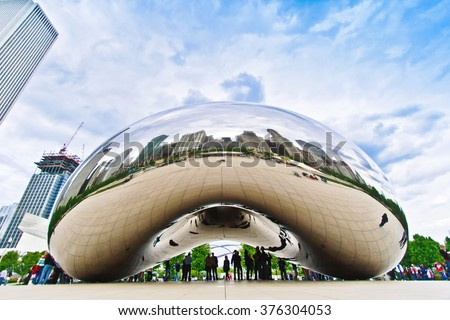 CHICAGO, USA - MAY 20:  The Bean sculpture in Chicago Millennium Park in Chicago, Illinois, on May 20th, 2008. - stock photo