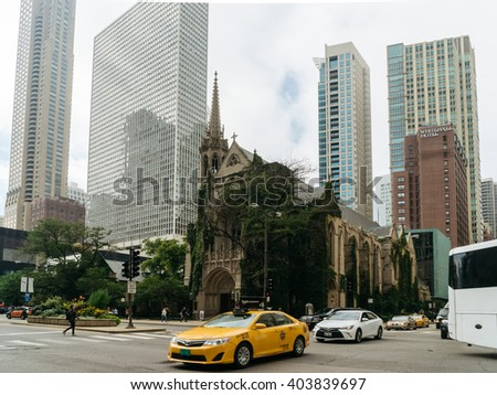 Chicago, USA - September 25, 2015: Fourth Presbyterian Church in Chicago - stock photo
