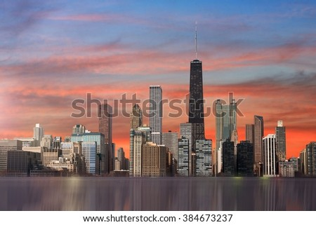 Chicago view from michigan lake - stock photo
