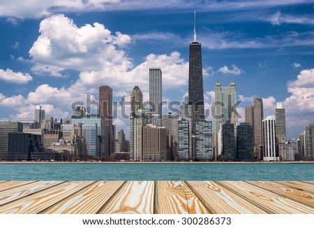 Chicago view from michigan lake at day time - stock photo