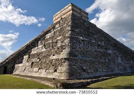 Chichen Itza Ancient Ruins in Mexico are a popular tourist destination - stock photo