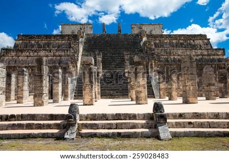Chichen Itza feathered serpent pyramid, Mexico - stock photo