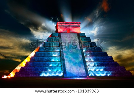 Chichen Itza Mayan Pyramid Night View - stock photo