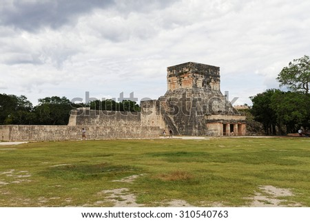 Chichen Itza, Mexico - October 30, 2012: Chichen Itza Maya ruins has 14 million visitors annually, it is 11th most visited site in the world - stock photo