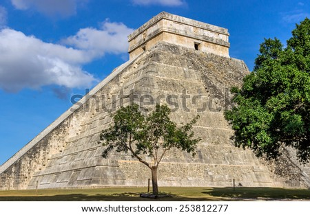 Chichen Itza pyramid of Kukulkan ( el Castillo ), Mexico - stock photo