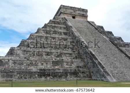Chichen Itza ruins. Pyramid of Kukulkan (El Castillo). - stock photo