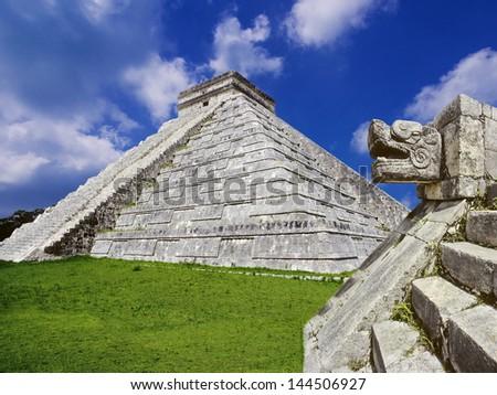 Chichen Itza serpent snake Mayan ruins Mexico Yucatan - stock photo
