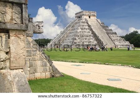 Chichen Itza snake and Kukulkan Mayan temple pyramid Mexico Yucatan - stock photo