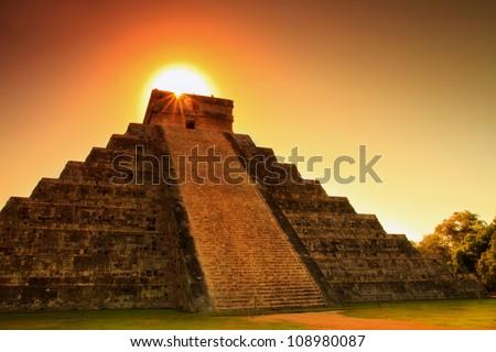 Chichen itza sunset - stock photo
