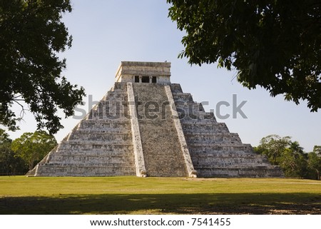 "Chichen Itza  The main pyramid El Castillo is also called Temple of Kukulcan. The Maya name ""Chich'en Itza"" means ""At the mouth of the well of the Itza."" Located in the Yucatan Peninsula of Mexico - stock photo"