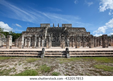 Chichen Itza, Yucatec Maya, a large pre-Columbian city built by the Maya people of the Terminal Classic period in Mexico - stock photo