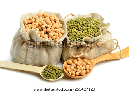 chick-pea, mung beans in the sacks and spoon wooden  isolated on white background - stock photo