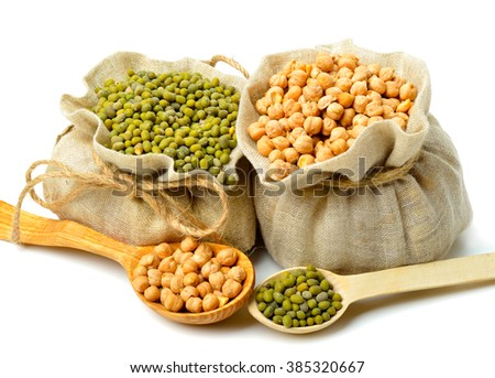 Chick-pea, mung beans in the sacks and spoon wooden  isolated on white background. - stock photo