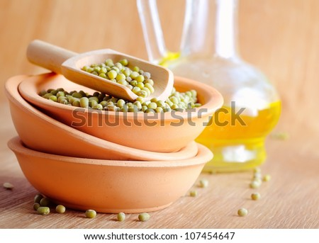 chick peas in ceramic bowls - stock photo
