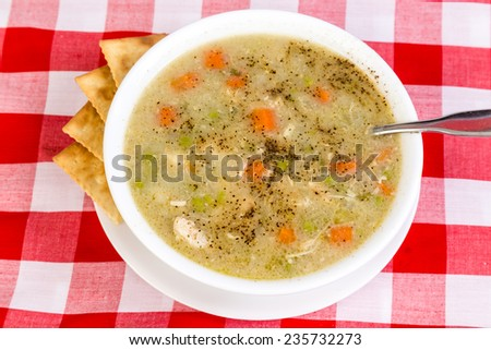 Chicken and Dumplings in white bowl with saltine crackers on red plaid country style tablecloth. - stock photo