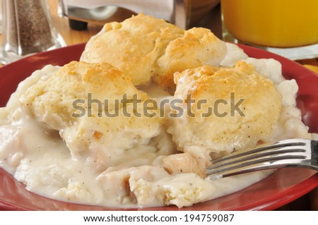 chicken and gravy on a bed of mashed potatoes, topped with golden flaky biscuits - stock photo