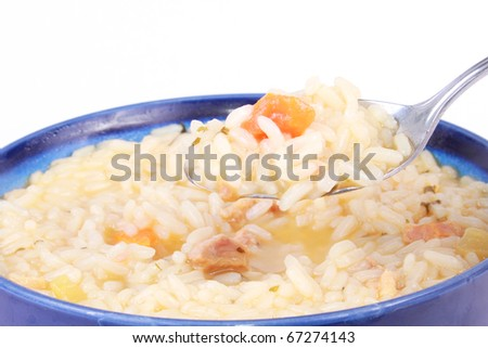 Chicken and rice soup - stock photo
