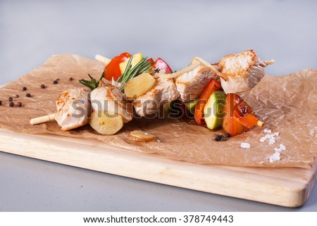 chicken and vegetable skewers - stock photo