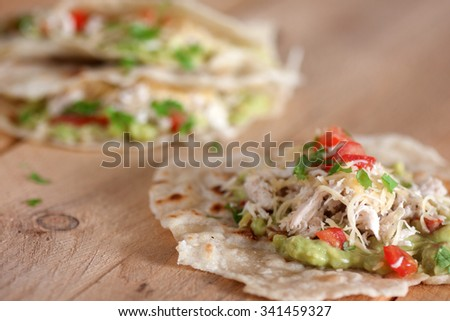 Chicken and vegetables tortilla - stock photo